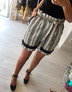 Monochrome High Waisted Shorts