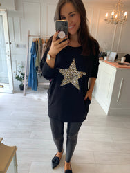 Lori Leopard Star Detail Top Black