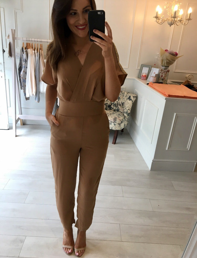 Nude Gold Detail Jumpsuit