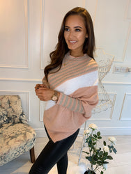 Simone Striped Asymmetric Jumper Pink