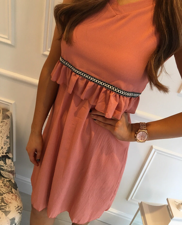 Salmon Black Band Detail Dress