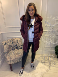 Carly Burgundy Puffa Coat