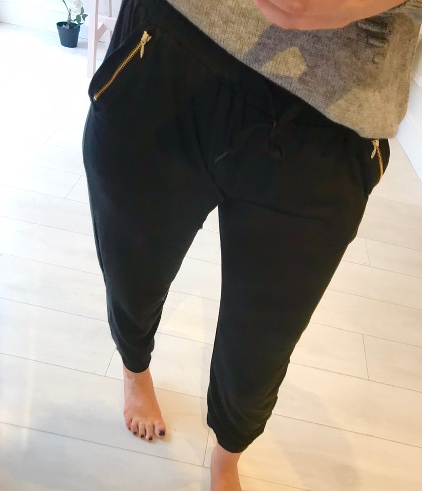 Black Gold Zip Detail Joggers