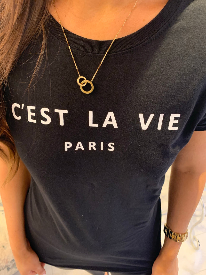 C'EST LA VIE PARIS SLOGAN T-SHIRT Black