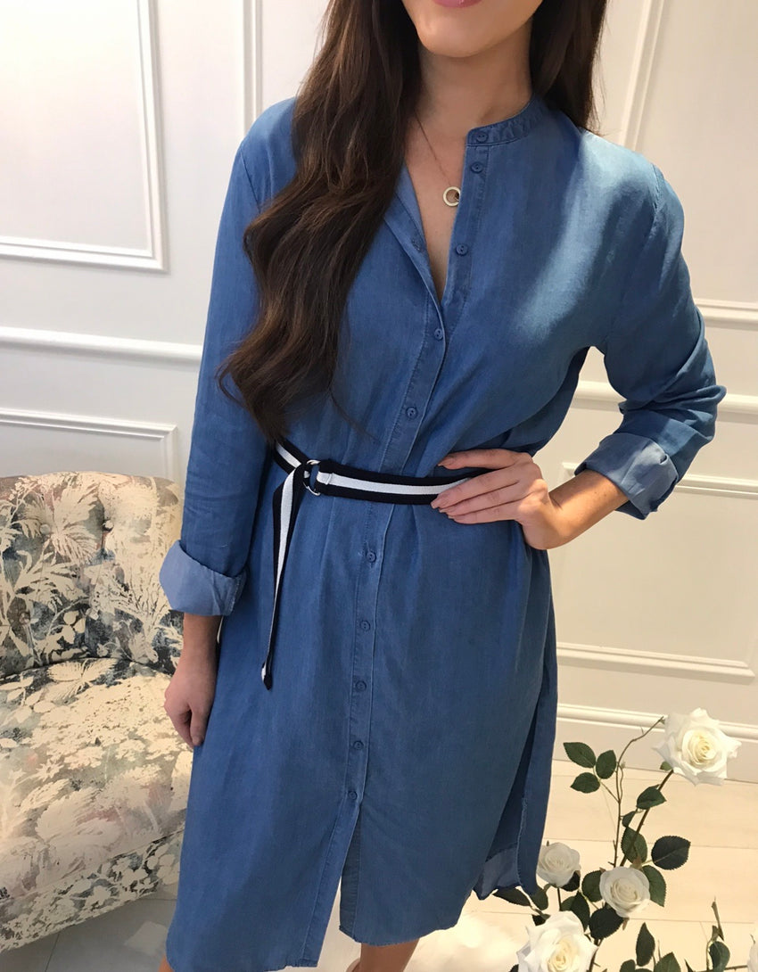 Demi Dotty Denim Belted Dress