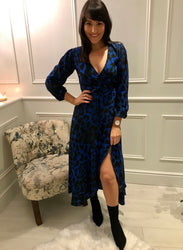 Blue Jagger Dancing Leopard Dress