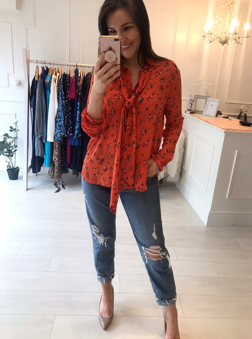 Orange Tie Bow Blouse