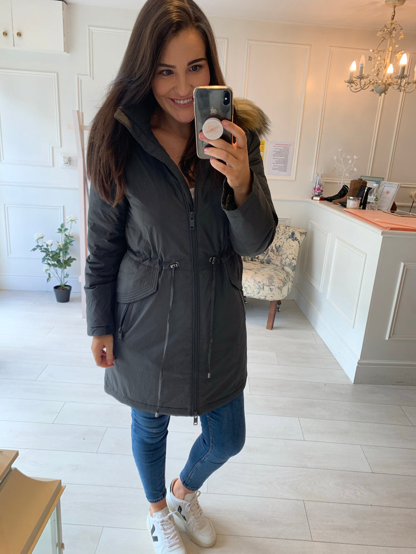 Catie Luxury Grey Parka