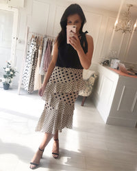 Ashton Ruffle Mixed Polka Dot Skirt