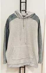 Tilly Grey Denim Detail Hoodie