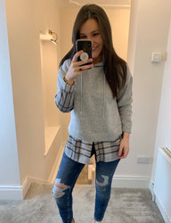 Georgie Grey Check Detail Fleece Hoodie