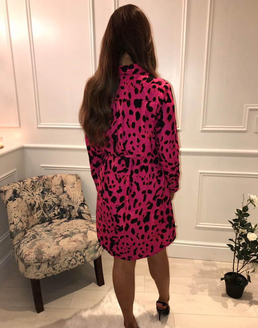 Pink Dancing Leopard Shirt Dress