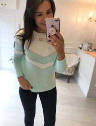 Mint Chevron Detail Jumper