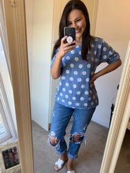 Sabrina Spotted Blue Linen Top