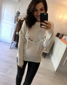 Winter White Sequin Bauble Knit