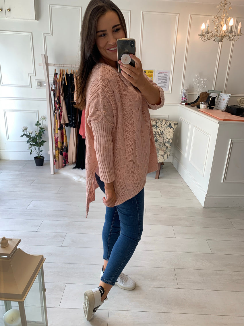 Rosie Cable Knit Jumper Blush