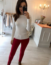Knitted White Sweater with gold detail buttons