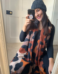 Charlotte Printed Scarf Deep Orange
