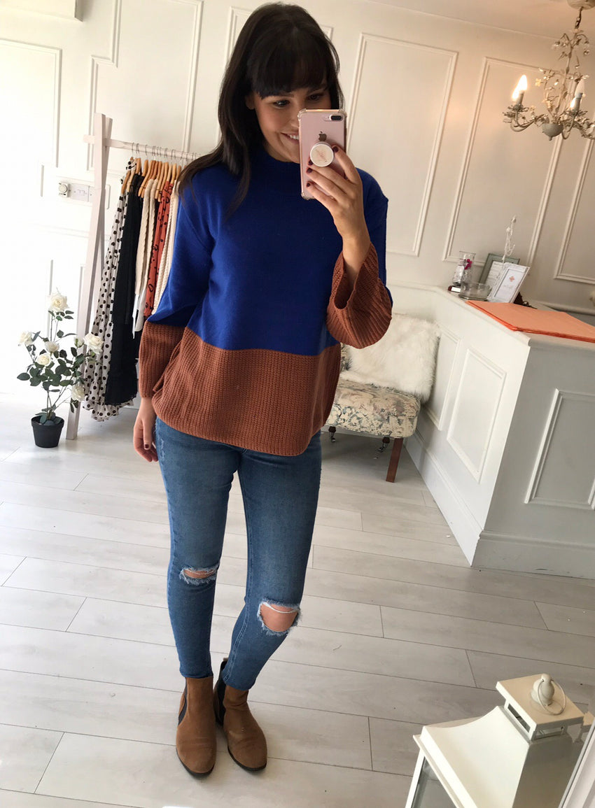 Cobalt blue & Tan Knit Jumper