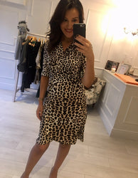 Leopard print side button midi