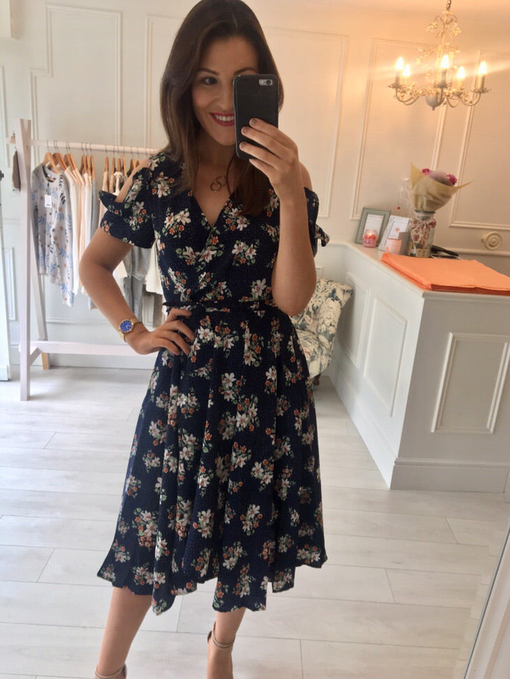 Navy Floral Detail Dress