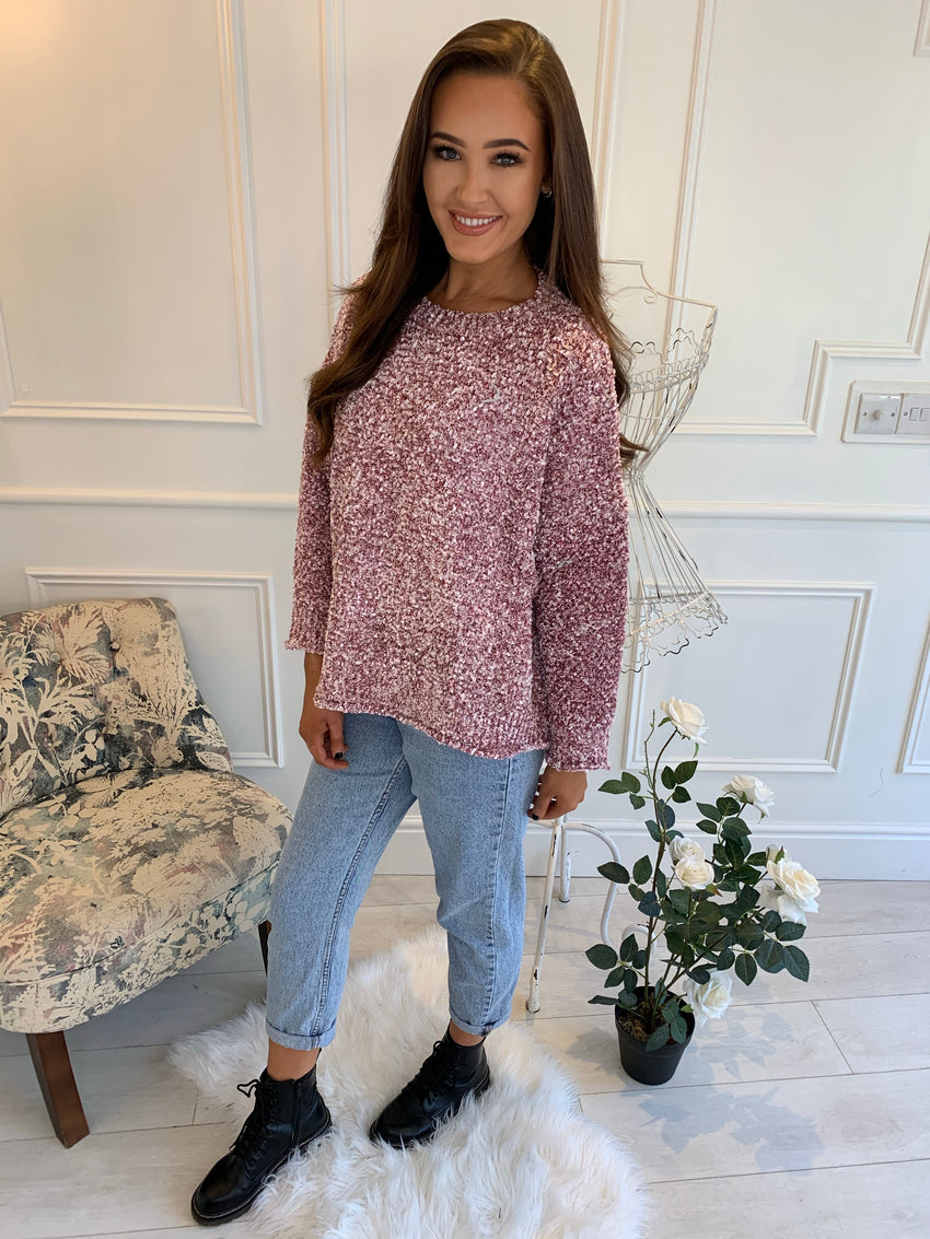 Alia Glitter Tweed Blush Jumper