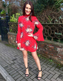 Red Floral Print Belle Dress
