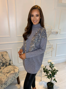 Keeva Sequin V Panel Jumper Grey