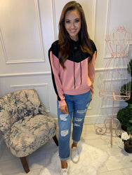 Marnie Colour Block Hoodie Black & Blush