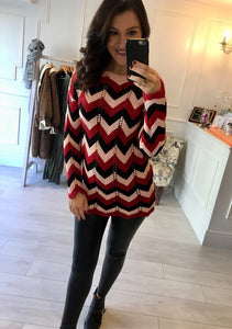 Red, Pink & Black Knit