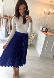 Cobalt Blue Pleated Skirt