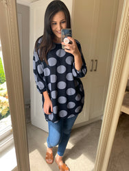 Julietta Oversize Navy Polka Dot Top
