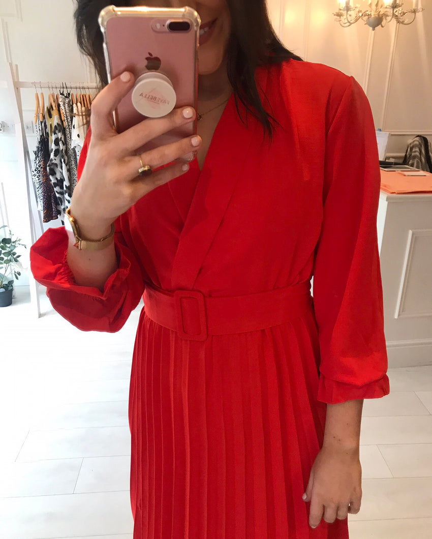 Tomato Red Belted Dress