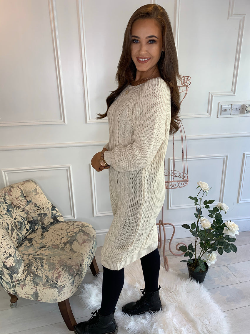 Lucy Cable Knitted Dress Cream