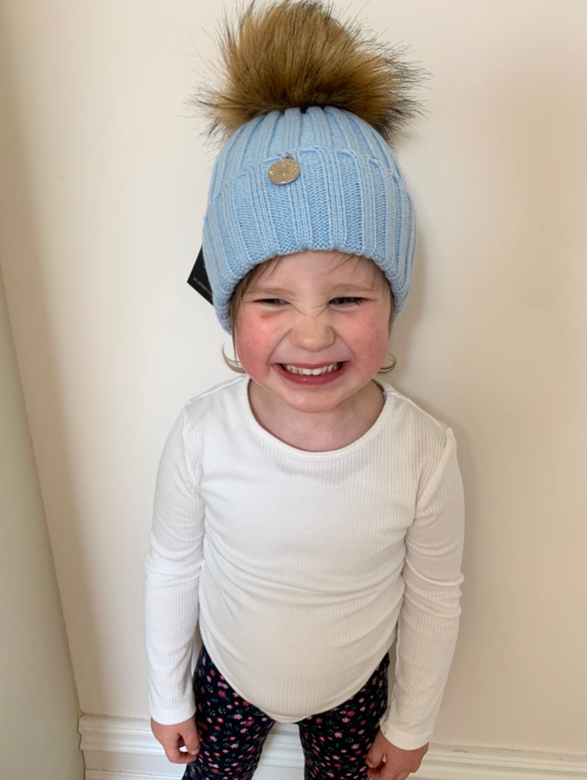 Faye Baby Blue Kids Pom Pom Faux Fur Hat