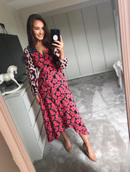 JAGGER MAXI DRESS IN PINK HIBISCUS MIX - Dancing Leopard