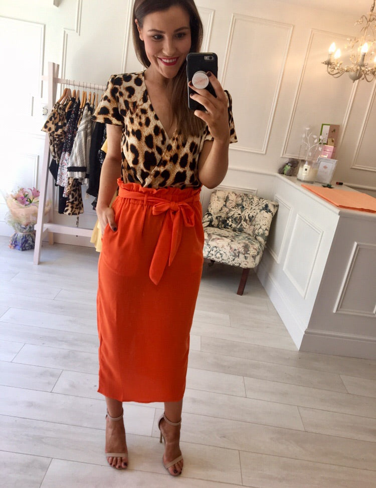 Dancing Leopard - Orange Skirt