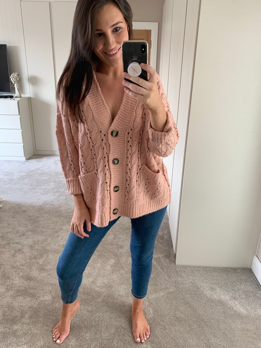 Catie Blush Cable Knit Cardigan