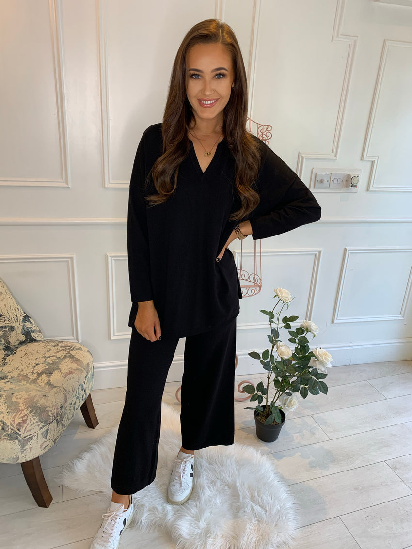 Halle Collared Lounge Suit Black