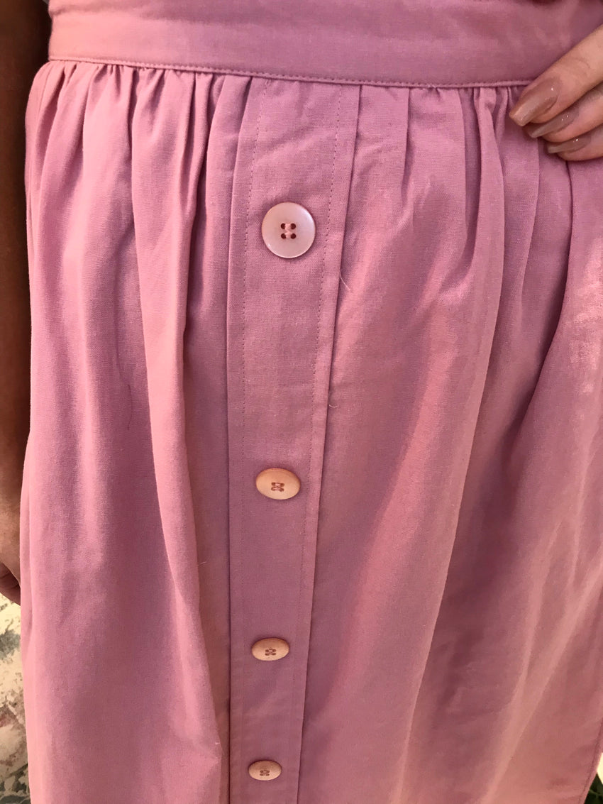 Pink Button Detail Skirt