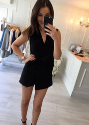 Black Tie-Knot Playsuit