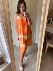 Gabby Orange Tie Dye Dress