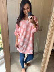 Julietta Oversize Pink Polka Dot Top