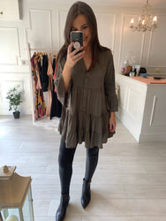 Steph Khaki  Smock Tunic/Dress