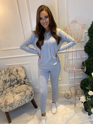 Heidi Hoodie & Jogger Co-Ord Lounge Suit Silver Grey