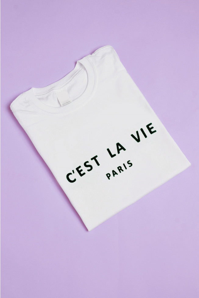 C'EST LA VIE PARIS SLOGAN T-SHIRT White