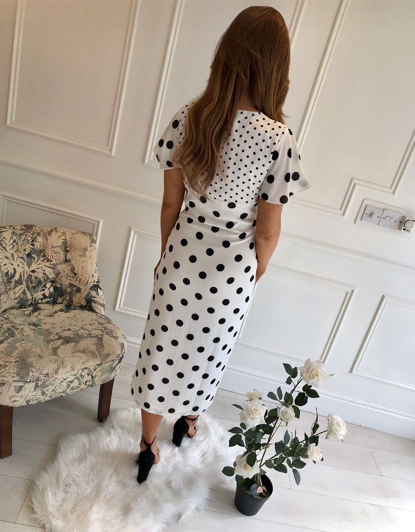 Naya Midi Button Down Polka Dot Dress