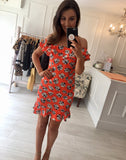 Orange Floral Detail Dress