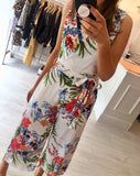 Tropical Print Culotte Jumpsuit
