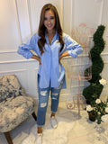Demi Dipped Hem Shirt Sky Blue